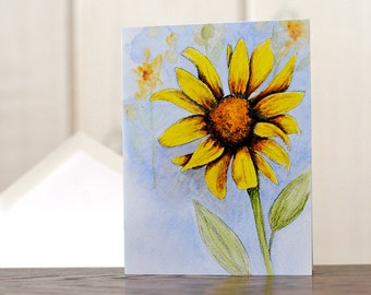 Sunflower notecards, watercolor notecards, sunflower art reprint, autumn harvest painting, personal stationery set, gardening stationery