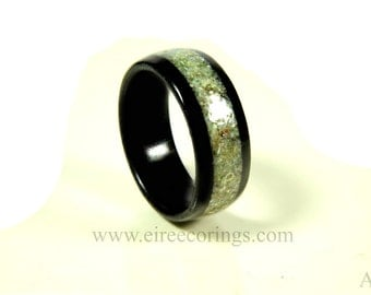 Bog Oak wood wedding band ring with Connemara Marble