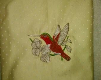 Hummingbird/decor Bathroom/machine embroidery/beautiful linen or table napkin decor
