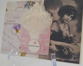 Dainty Petite Vintage Lace Edged Applique Handkerchief Friendship Thinking Of You Just Because Keepsake Gift Hanky Card