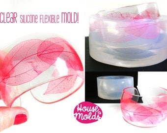 Rounded Cuff  Bangle Clear  Mold, flexible silicone mold for resin,adjustable Resin Bangle Mold 6,5 cm innerr diameter