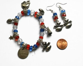 Blue and Red Texas Football Charm Bracelet, Football Charm Bracelet, football charms, Houston Texans, New England Patriots, cheer bracelets,