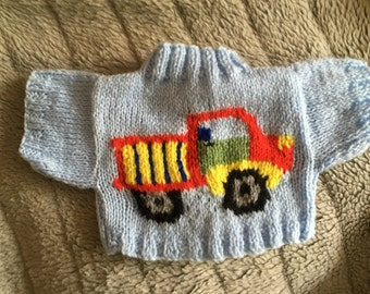 Hand Knitted Colourful Truck Sweater to fit Build a Bear Animals