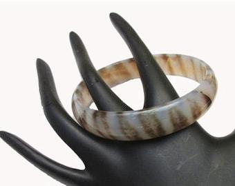 Gemstone Bangle Carved Polished Brown and Cream Agate bracelet