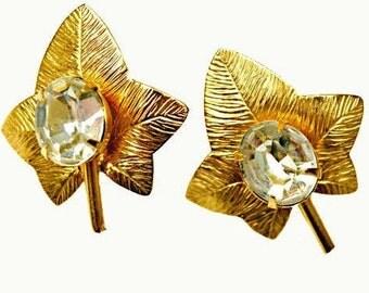 Leaf Earrings - Gold -Clear Crystal -Rhinestone  -clip on earring