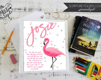 Personalized Scripture Folder Covers, Flamingo, No. 6