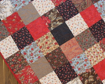 Quilt, Lap Quilt, blanket, Brown, Red, Blue & Cream Lap Quilt Chocolat Patchwork