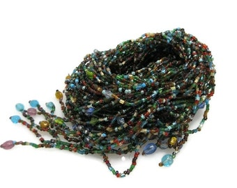 True Vintage Statement Necklace, Beaded Tassel Scarf Necklace, Layered, Handmade, Multicolored, Unique