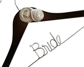 Sale. Elegant Personalized Bridal Wedding Hanger. Custom Flowers, Jewel, Pearls and More. Flower Bridal Hanger.