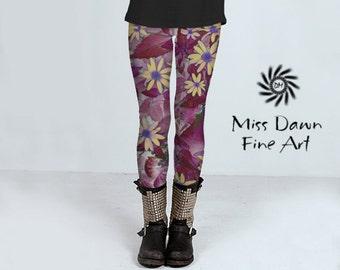 Flower Art Leggings, Floral Print Leggings, Floral Leggings, Women's Leggings, Artsy Yoga Pant, Creative Activewear For Women, Fashion