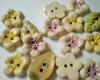 set of puffy flowers with leaf ceramic buttons - cherry blossom and apple blossom
