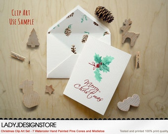 Christmas Watercolor Digital Clip Art Set-Hand Painted Pine Cones and Mistletoe,Christmas clip art,Christmas Invitation,hand drawn clip art