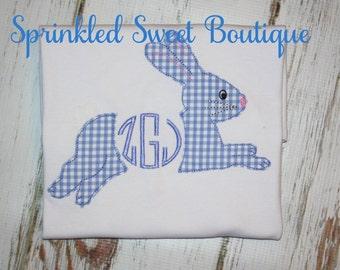 Monogram Bunny Applique Monogram Name Girl Baby Shirt First Easter Shirt or Romper