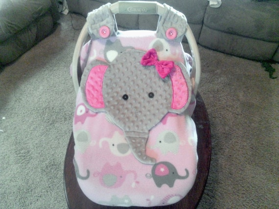 girls appliqued fitted elephant car seat canopy with. Black Bedroom Furniture Sets. Home Design Ideas