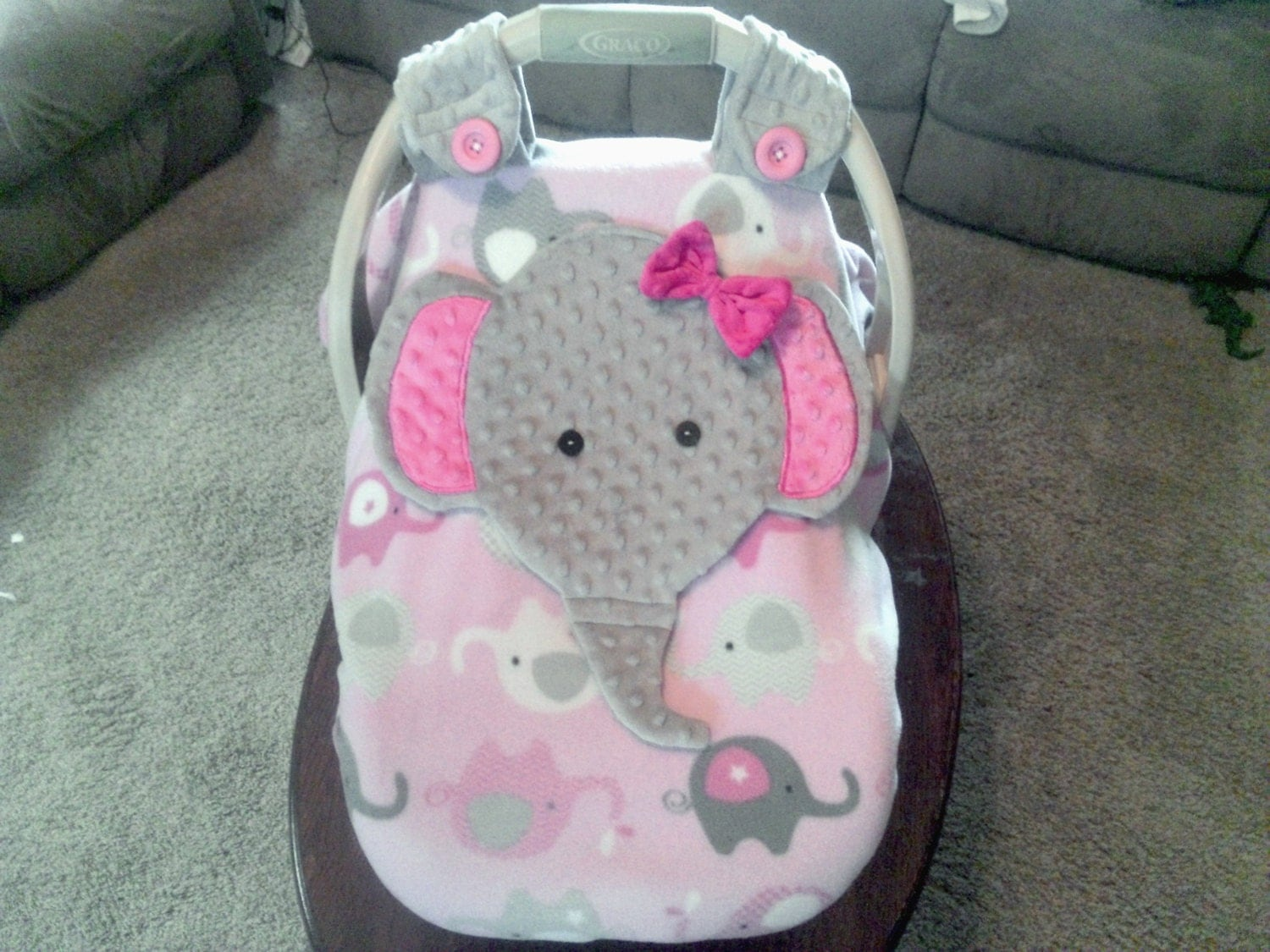 Girls Appliqued Fitted Elephant Car Seat Canopy With