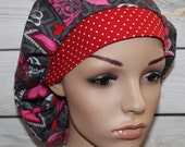 Bouffant Women's Scrub Hat. Valentine's Day Scrub Hat