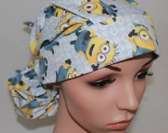 Gray, Minions,Surgical Scrub Hat, Nurses Surgical Scrub Caps,Vet Tech,Front Fold Ponytail