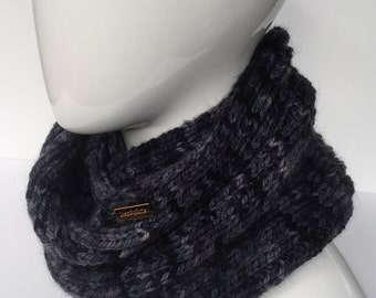 Hand Knit Ribbed Scarf, Extra Large Scarf, Oversized Scarf, Men' Scarves, Winter Accessories, 100% Merino Wool, Black, Grey