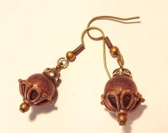 Wood & Copper Earrings