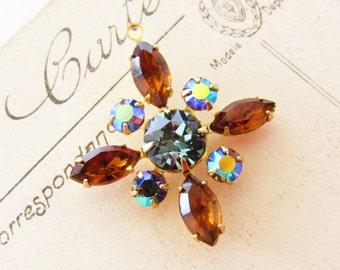 Swarovski Rhinestone Star Flower Pendant Indian Sapphire Topaz & Vitrail Charm 30mm 1 Ring Brass - 1