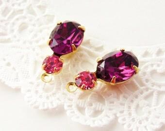 Purple Amethyst & Rose Pink Rhinestone Drops or Connector Brass Settings