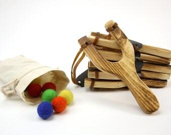 Slingshot Kit //  Wooden Slingshot // Felt Ball Ammo