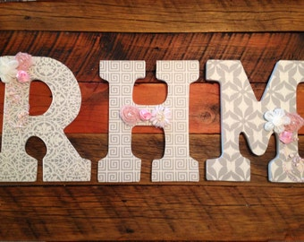 Custom Nursery Letters- Personalized name initials-Pink-Grey-White nursery-Wooden Hanging Letters - Honey Boo Boutique