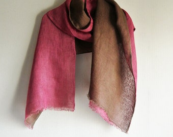 Natural dyed deep brown and pink 2colors faced Linen scarf