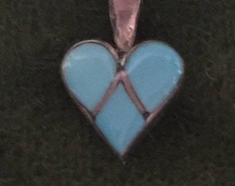 Tiny sterling and turquoise pendant