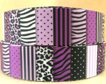 1 inch-25mm Geometric Dot-Stripe-Leopard-Patchwork-Grosgrain Ribbon-by yard Craft Supplies-Hair Bows-Scrapbook-Headband