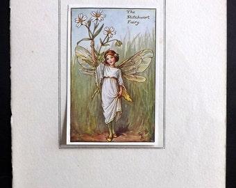Cicely Mary Barker C1930 Flower Fairy Print. The Stitchwort Fairy