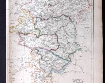 Blackie 1860 Antique Map. The Archduchy of Austria, Balkans
