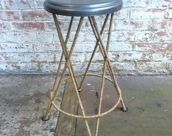 Rustic Metal Jute Rope Stool