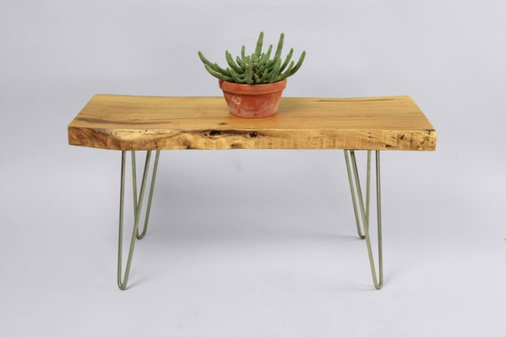 MODERN COFFEE TABLE Unique Acacia Wood Side Table on Hair Pin