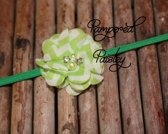 Baby Headband, Shabby Headband,  Green Headband, Stretch Headband, Infant Headband, Wedding Headband, skinny Headband, Flower Headband