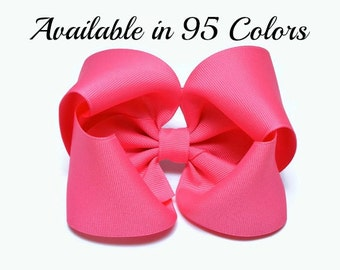 Hot Pink Hair Bow, Hair Bows, Girls Hair Bows, Big Hair Bows, Large Hair Bows, Hair Bows for Girls, Pink Hair Bow, Hairbows, Hair Clip,  500