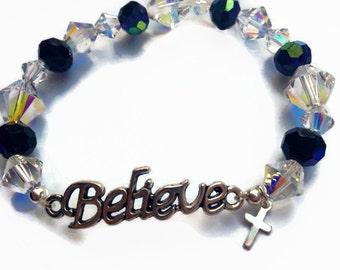 Swarovski Believe Bracelet, Christian Bracelet, Faith Bracelet, Inspirational Crystal Bracelet
