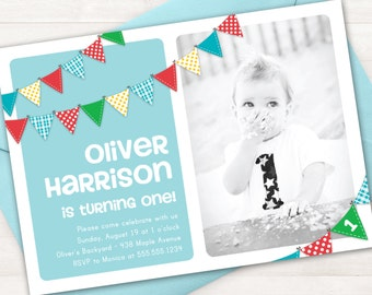 Boy First Birthday Invitation, Bunting Banner Photo Printable Invite, 1 Year Old, 2 Year Old, ANY Age, Blue Invitation, Rainbow Invitations