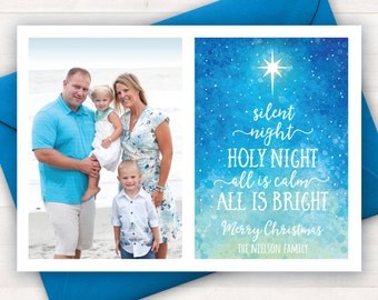 Christian Christmas Cards, Printable Photo Christmas Cards, Silent Night Card, Religious Christmas Cards, Holiday Greeting Card, Xmas Cards