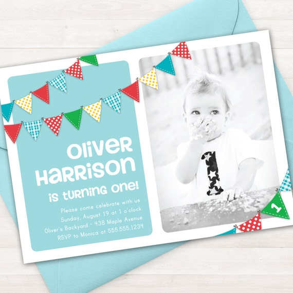 Boy first birthday invitation bunting banner photo printable invite il570xn filmwisefo