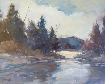 Autumn landscape, original painting by NY artist Carl W. Illig, rural creek, trees, stream, pines