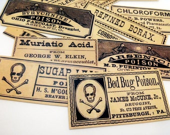 12 pcs. POISON LABELS - Antiqued Apothecary Labels, Poison Stickersm, Toxic Skull Crossbones, Vintage Inspired Medicine Drug Sticker Pack