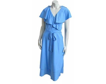 Vintage 1970s Wrap Dress Ruffled Cape Top with Tiered Skirt