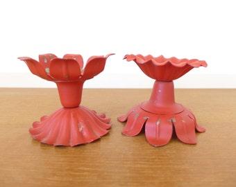 Vintage reversible red metal petal candleholders