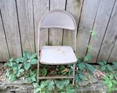 Vintage Metal Child's Folding Chair 1960s Rusty Photo prop Garden chair