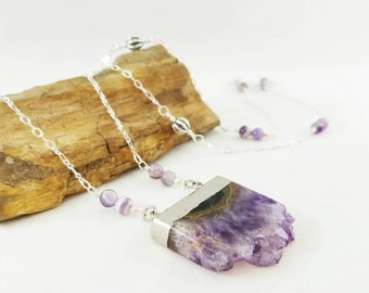 Amethyst slab pendant gemstone necklace, purple amethyst, long amethyst necklace, gemstone geode