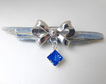1950's Repurposed Vintage Coro Silver Bow with 1930's Carved Cobalt Blue Glass Diamond Drop Pin
