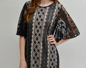 SALE Bell Sleeves Lace Dress in Black/Nude
