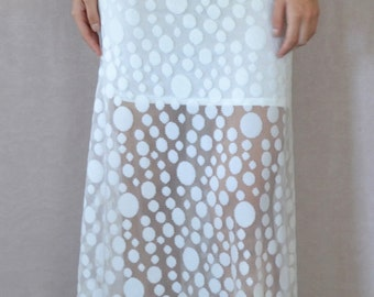 SALE Lace Maxi Skirt in Polka White