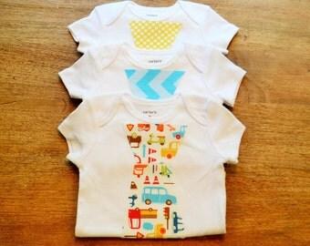 Set of Three Tie Onesies- Boy Tie shirt- Baby Onesie- Baby Tie Onesie Baby Shower Banner- Little Man Onesie